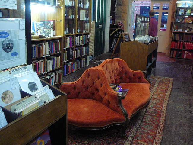 Elegant sofa - the bookshop is in the Alnwick Station buildings